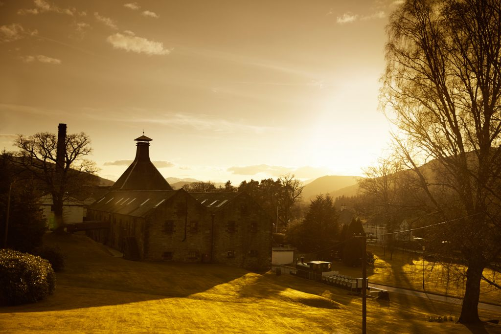 The Dewar's Aberfeldy distillery at sunrise