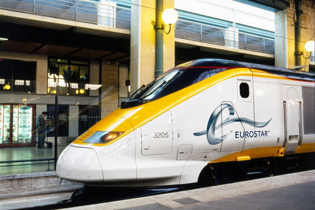 Eurostar train departing London for Amsterdam