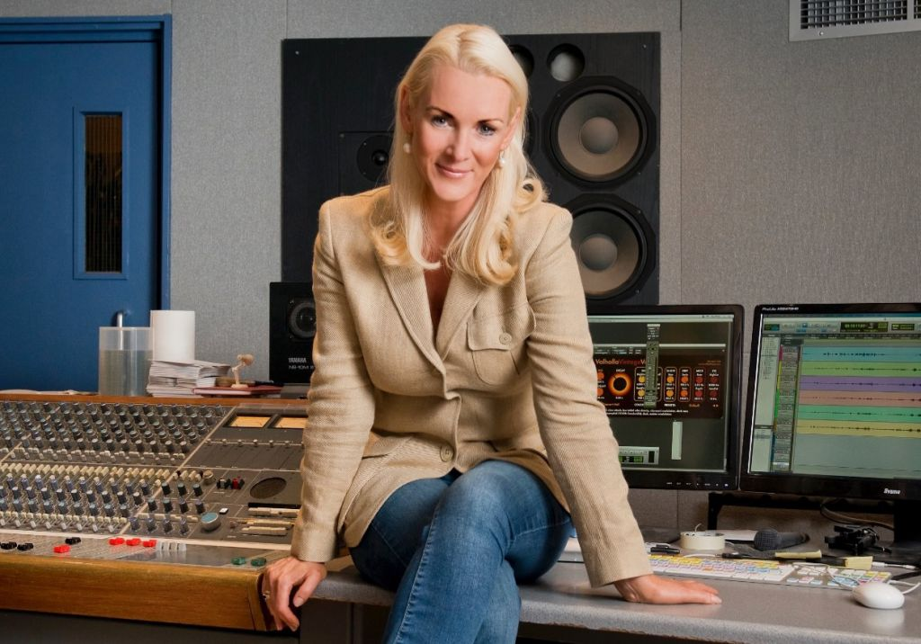 Friederike Krum in the recording studio