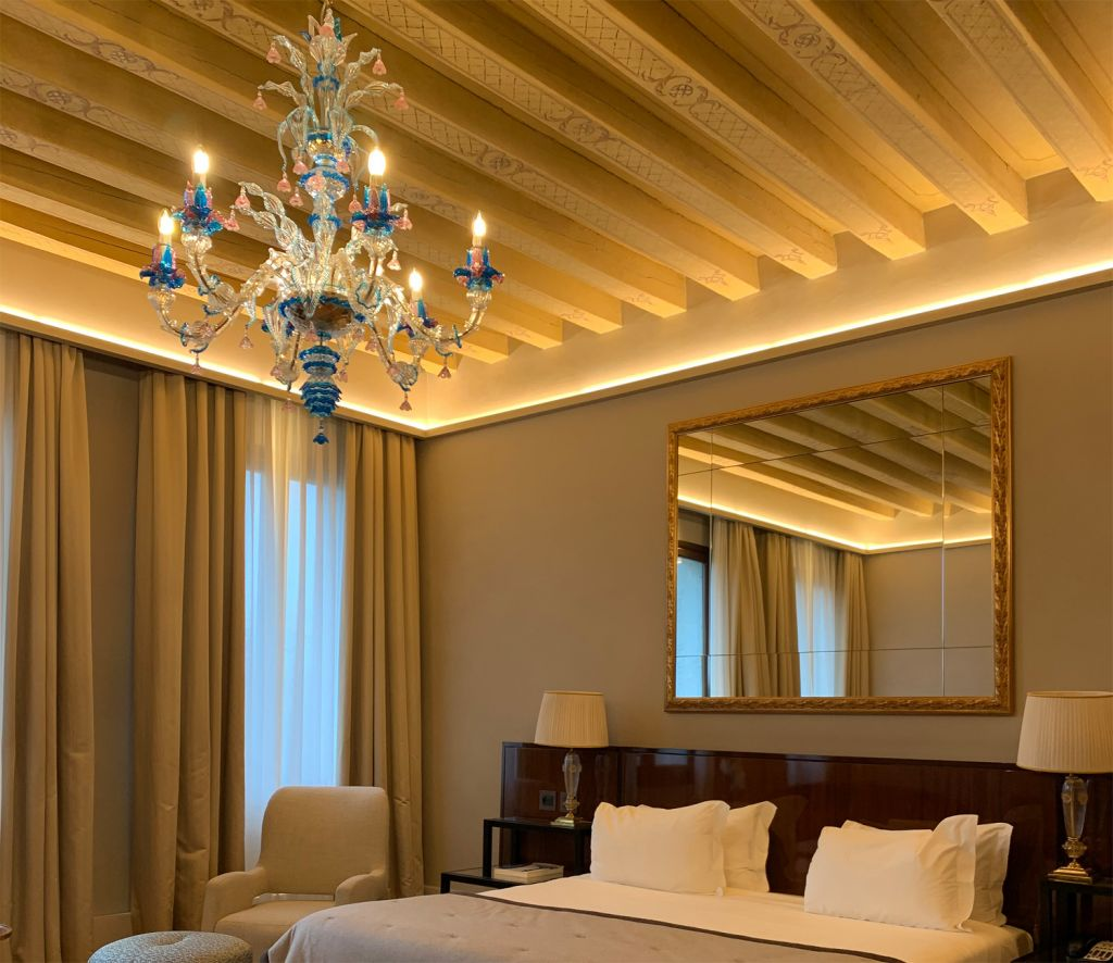 Ornate chandeliers in the Grand Hotel dei Dogi Venice