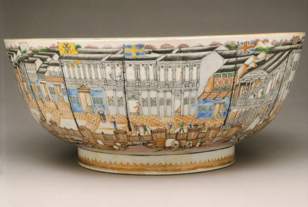 Punch Bowl with Hongs of Canton