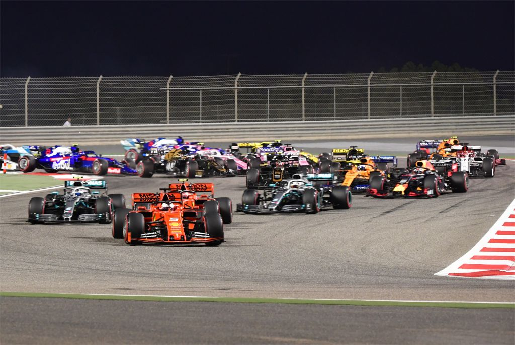 Racing at the Formula 1 Gulf Air Bahrain Grand Prix