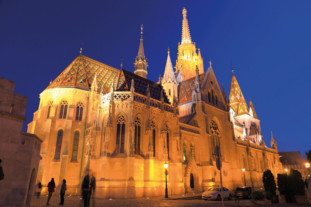 The exterior of St Matthias Church at night