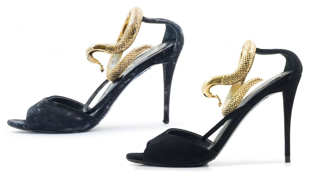 Black snake ladies shoe restored by the Shoespa