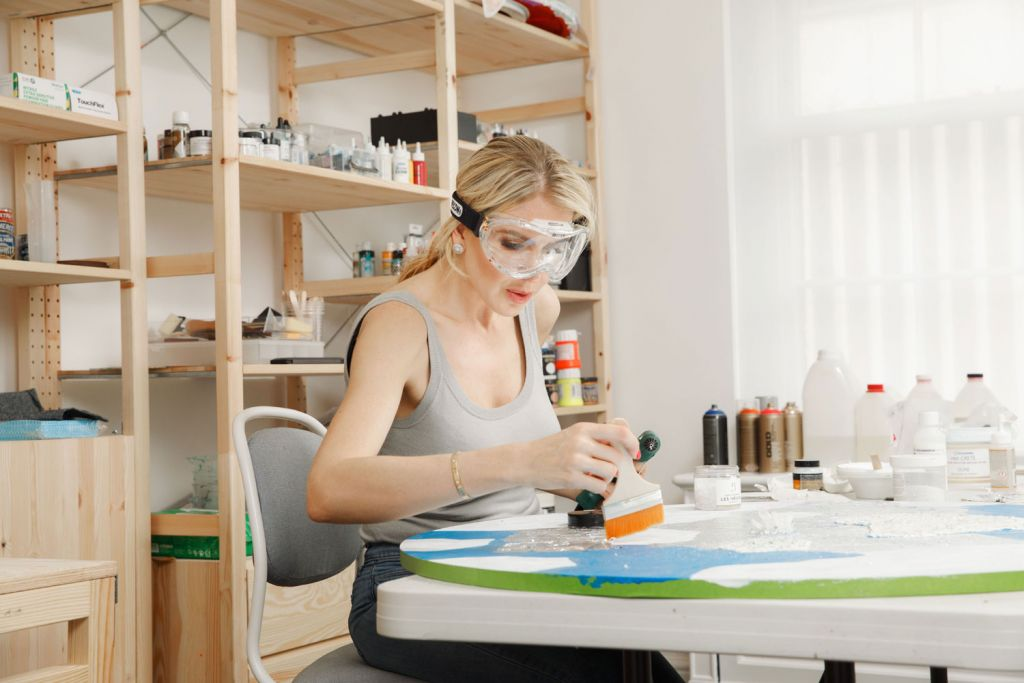 Contemporary artist Natalia Kapchuk at work in the studio