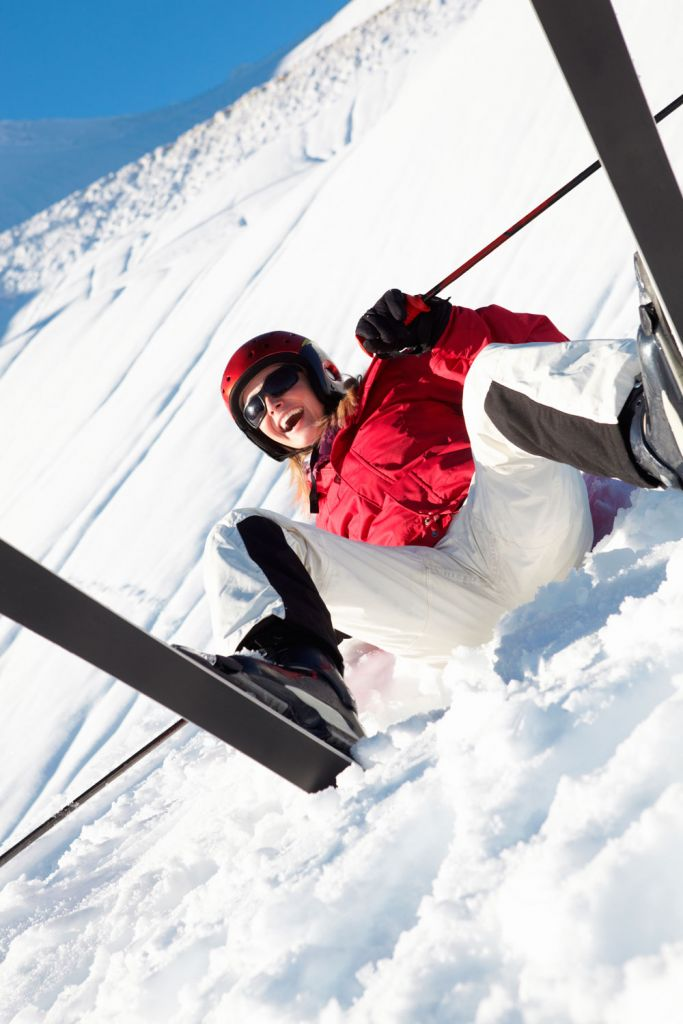 Falling over when learning to ski in Ischgl Austria