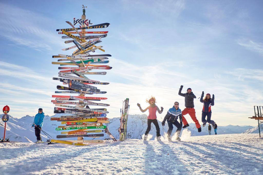 Happy skiers in Ischgl Austria