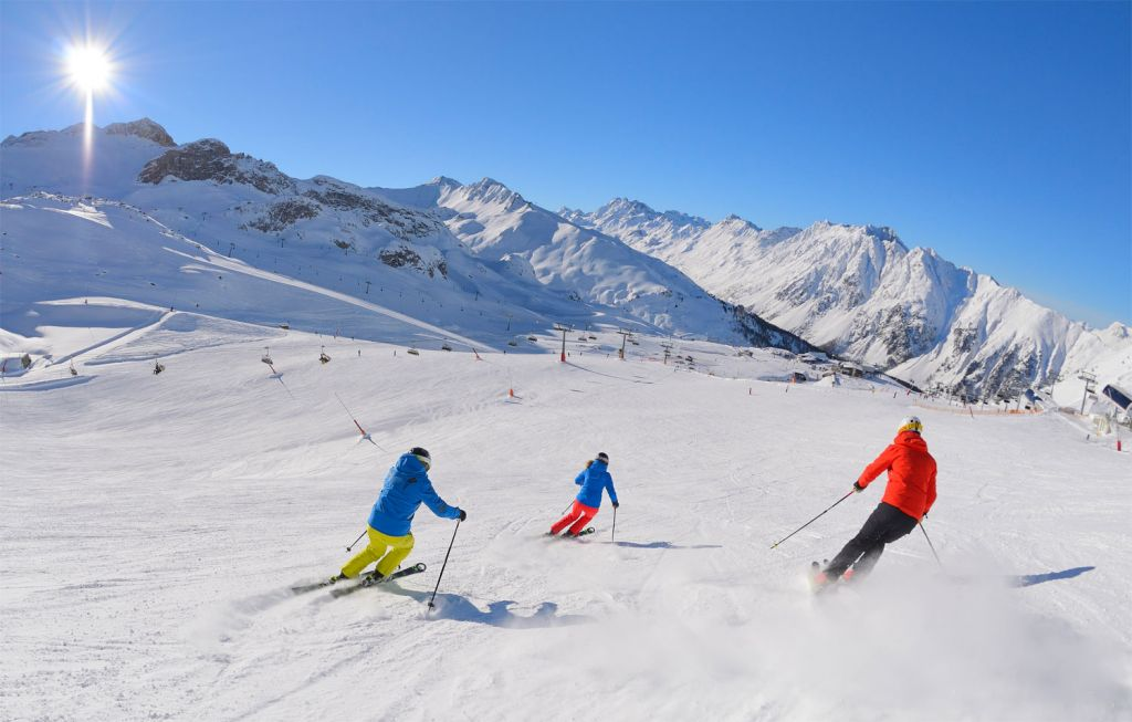 Skiing on the slopes of Ischgl Austria