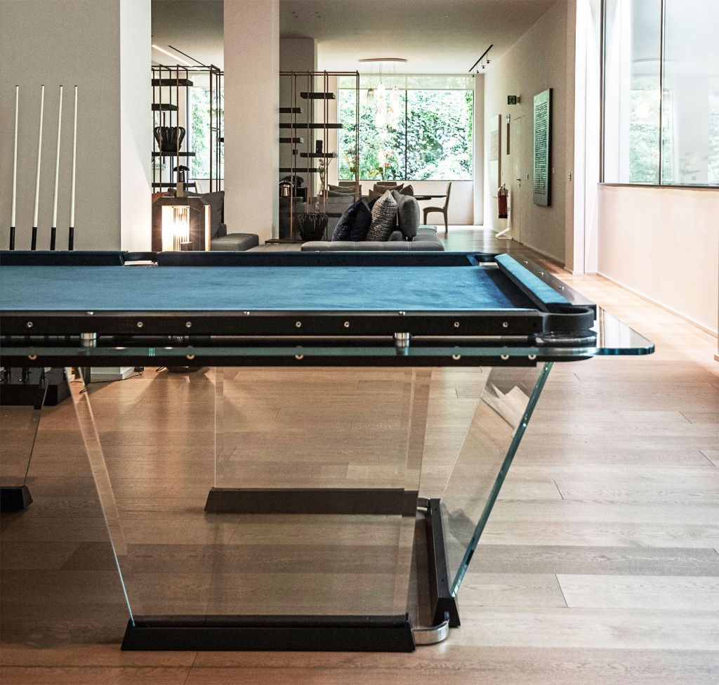 Teckell's T1 Glass Pool Table side view with glass panels