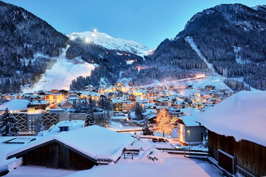 The village of Ischgl in Austria at night