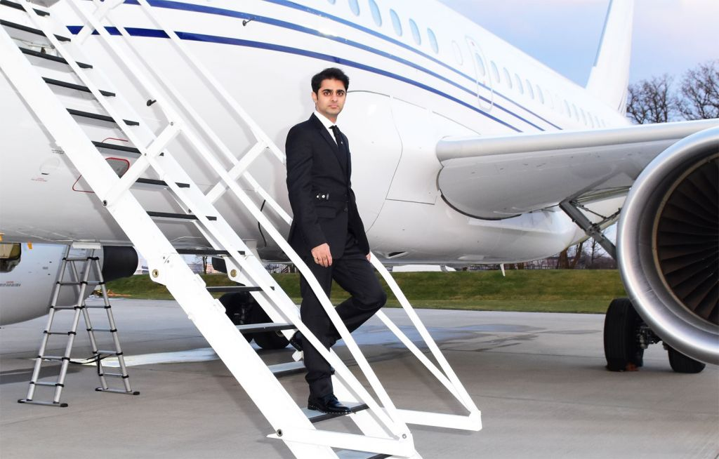 Ameerh Naran exiting a private jet