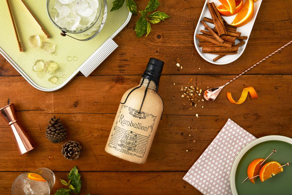 Bottle of Rumbullion Caribbean rum