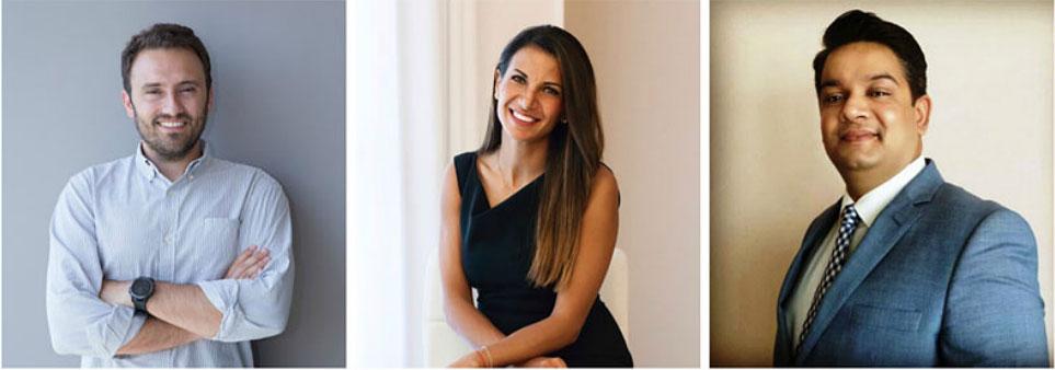 Practical tips in the I Meet Hotel webinar came from (l to r) Konstantinos Santikos, Sara Abdel Masih, and Dharmendra Sharma.