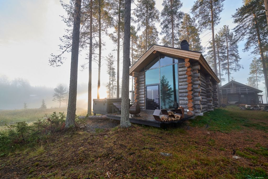 Arctic Retreat, a traditional Arctic luxury log cabin deep in the Lapland wilderness