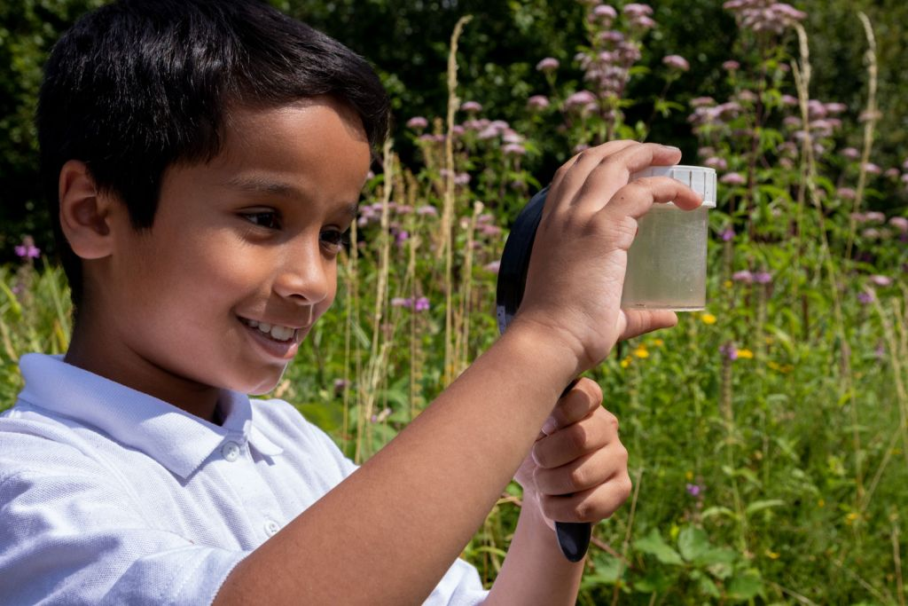 Young boy studying nature in specimen jar