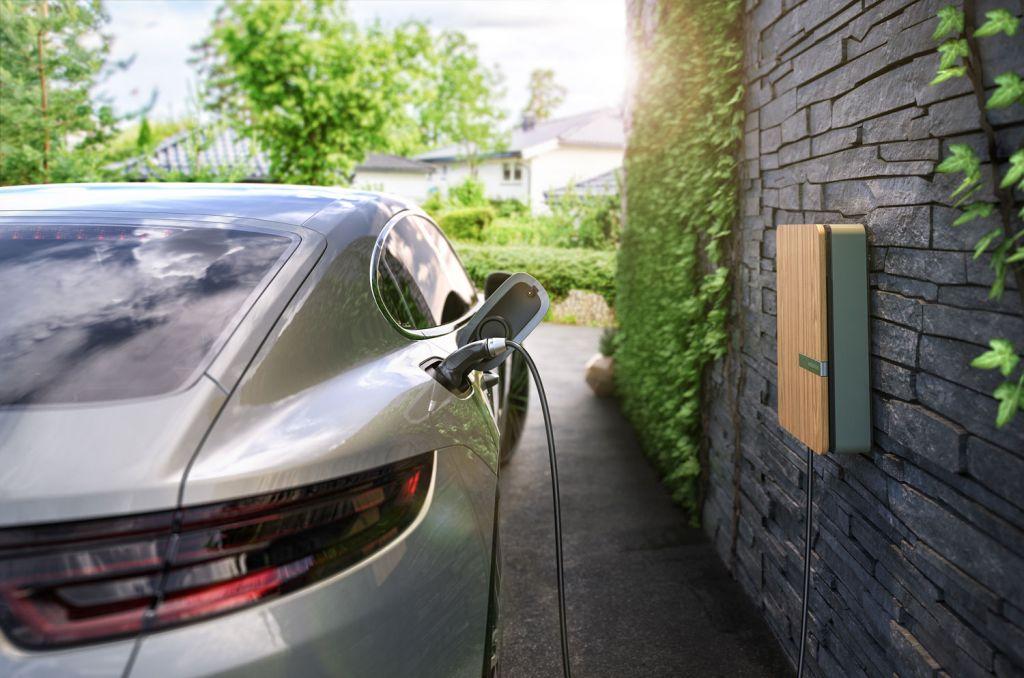 Andersen EV charging point with a Porsche