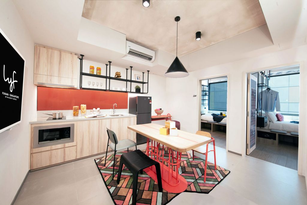 Kitchen area in an Ascott serviced apartment
