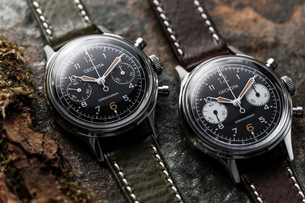 The military chronograph features either black or contrasting white subdials