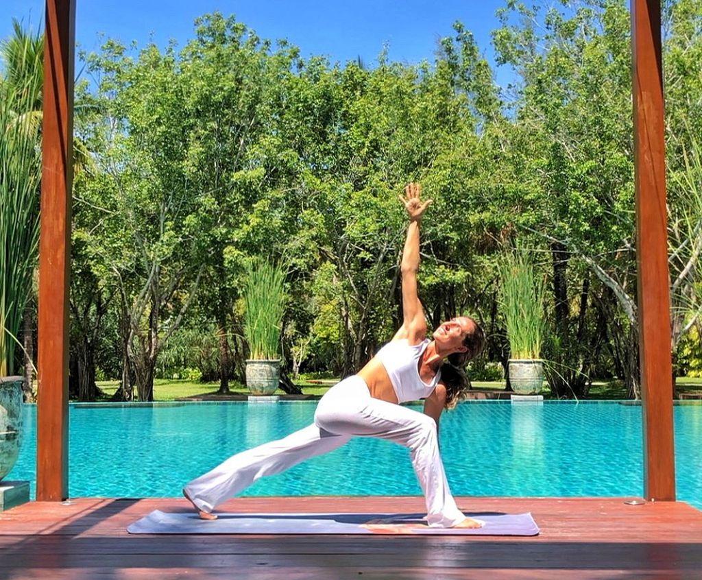 Justine virtual Yoga class at The Sarojin Thailand