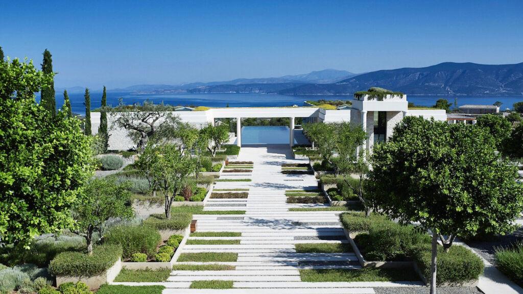 Amanzoe Villas Greece eco friendly green roofs