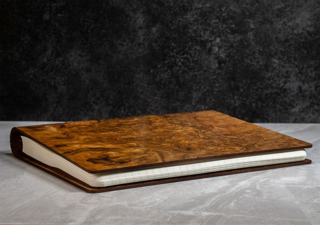 Bark & Rock Burr Walnut handmade journal on its side