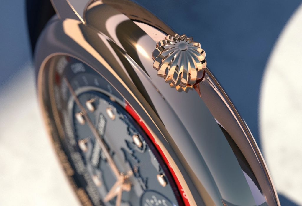 The crown on the Frederique Constant Rose Gold Classic Worldtimer