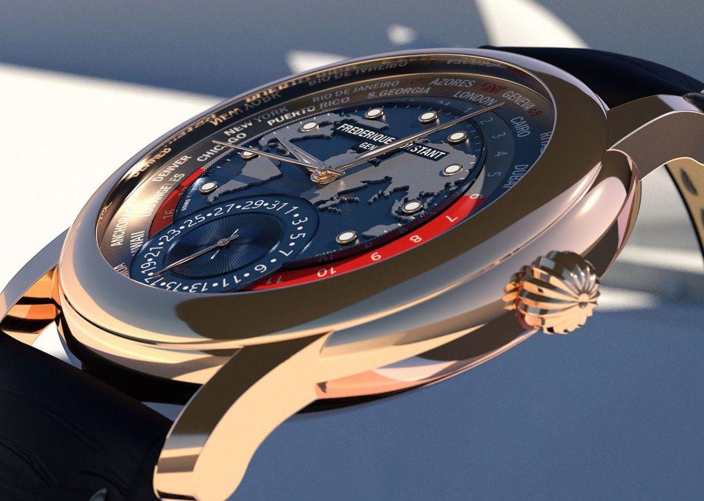 Frederique Constant Rose Gold Classic Worldtimer dial