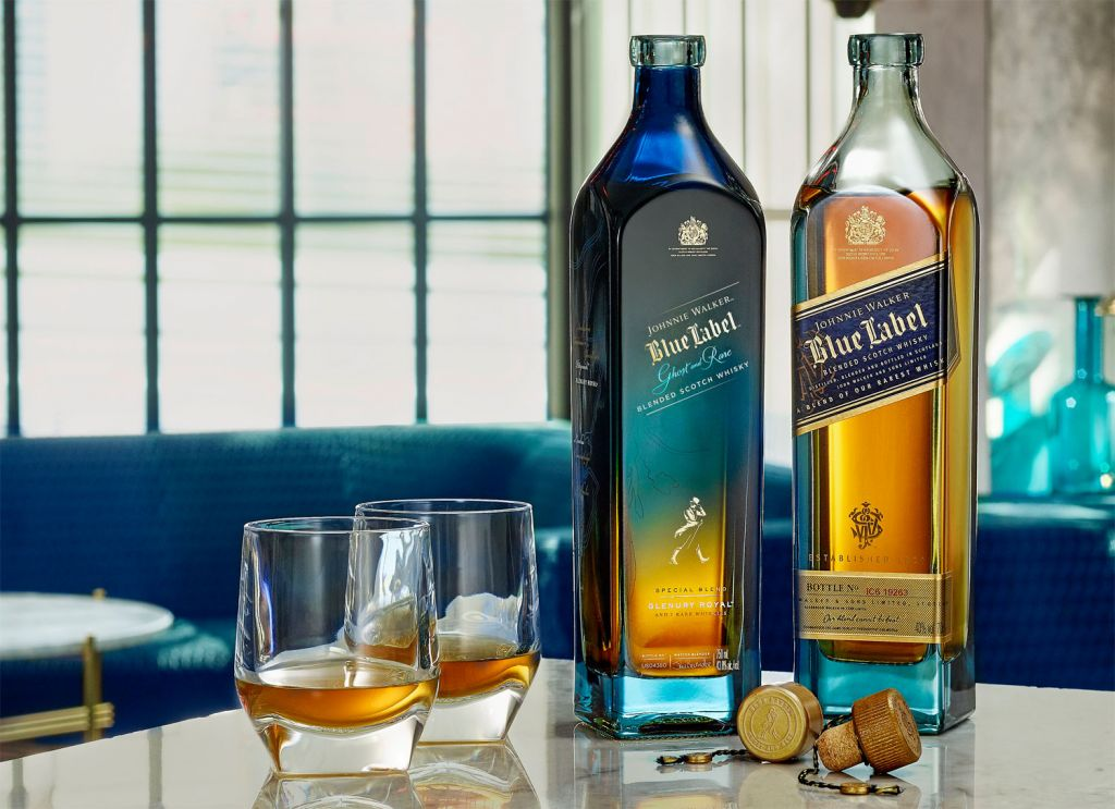 Johnnie Walker's Limited Edition Blue Label Ghost and Rare Glenury Royal
