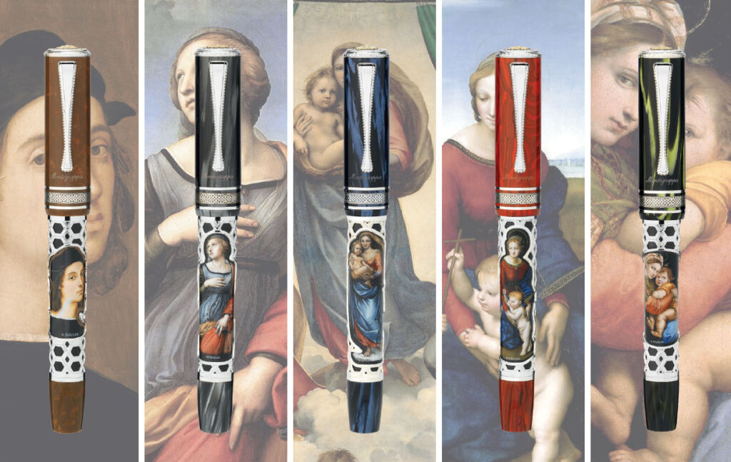The individual artworks in the pens are matched to its own celluloid colour