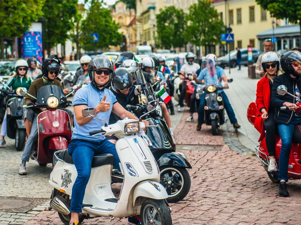 Vespa Scooters at the Italian Cultural Weekend in Vilnius