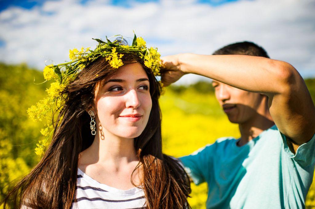 Wearing a floral wreath Swedish Midsummer