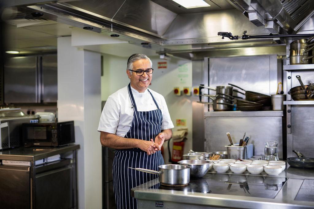 Atul Kochhar in the kitchen