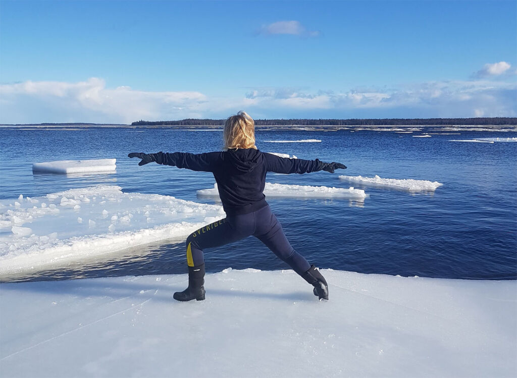 Exercising on the frozen ice sheets in the Bay of Bothnia