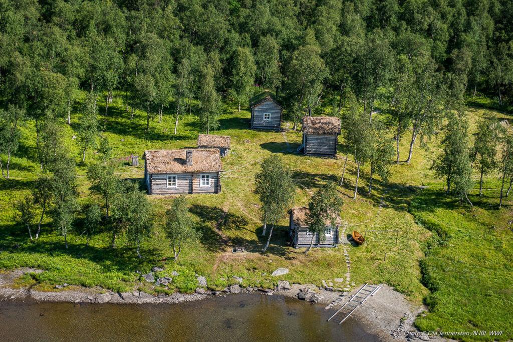 Aerial view of Geunja The Sámi Ecolodge in Swedish Lapland