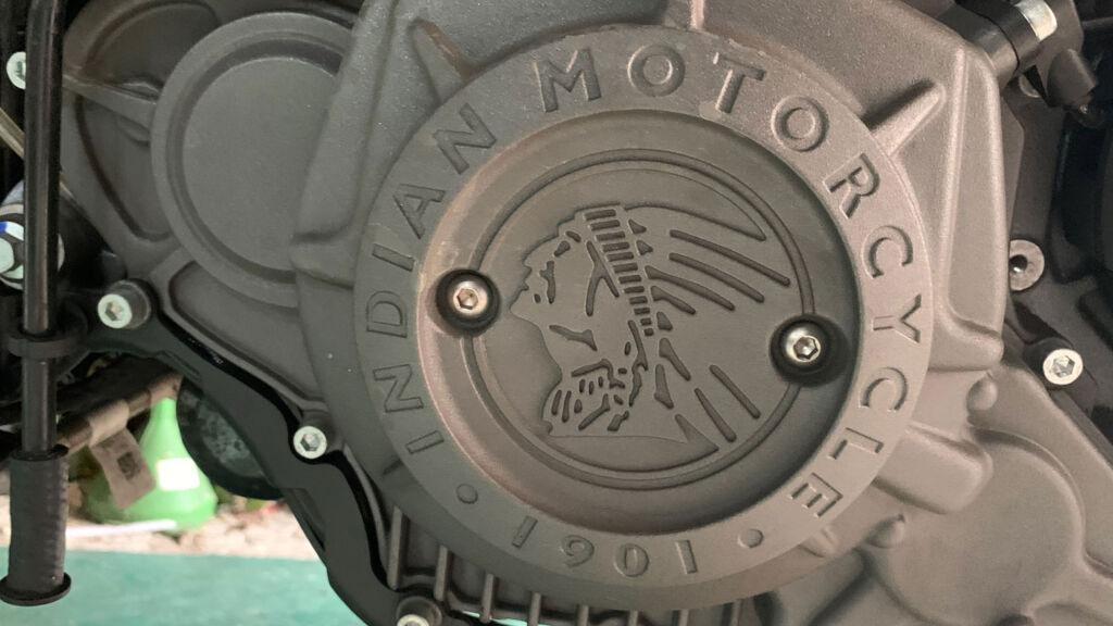 Indian Motorcycle logo on bike engine