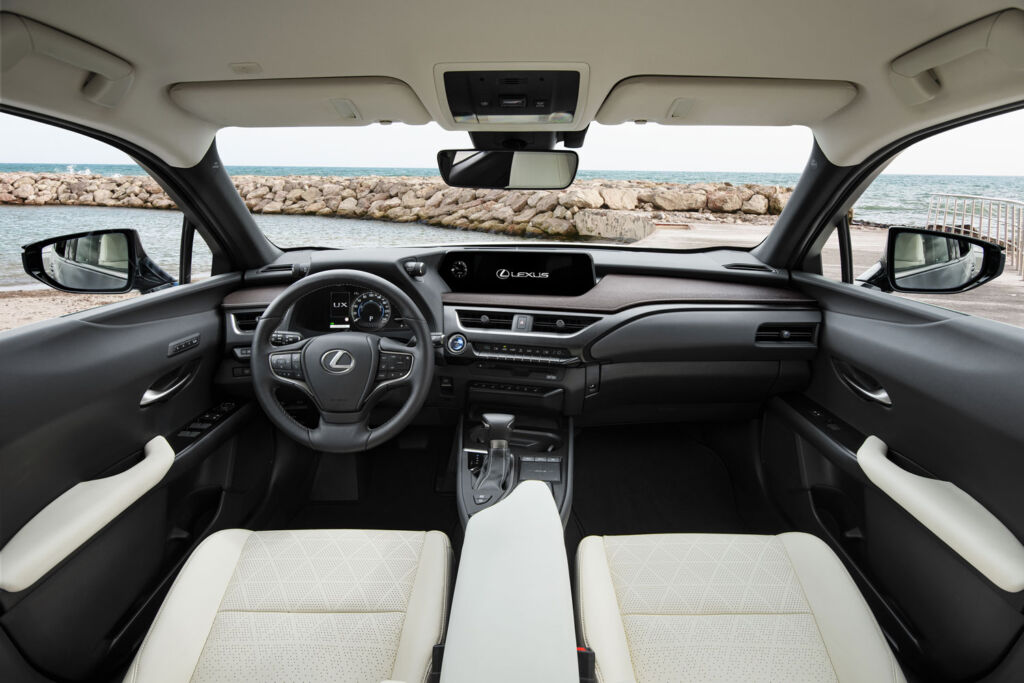 Interior and dashboard of the Lexus UX 250h Takumi E-Four