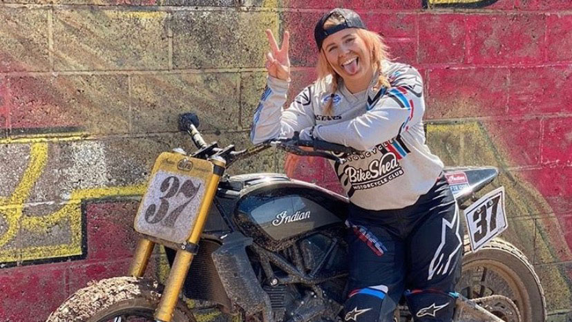Leah Toklove on an Indian Motorcycle