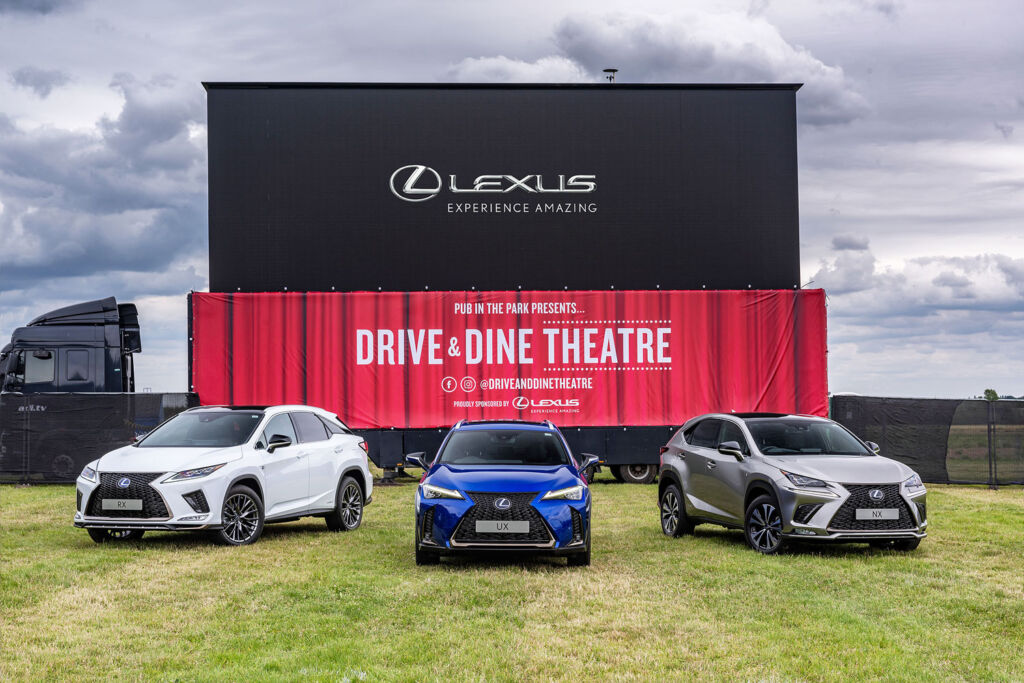Lexus cars parjed outside the movie screen