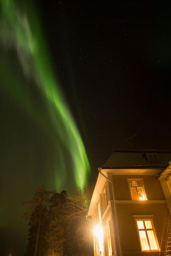 Northern lights over Melderstin Manor Sweden