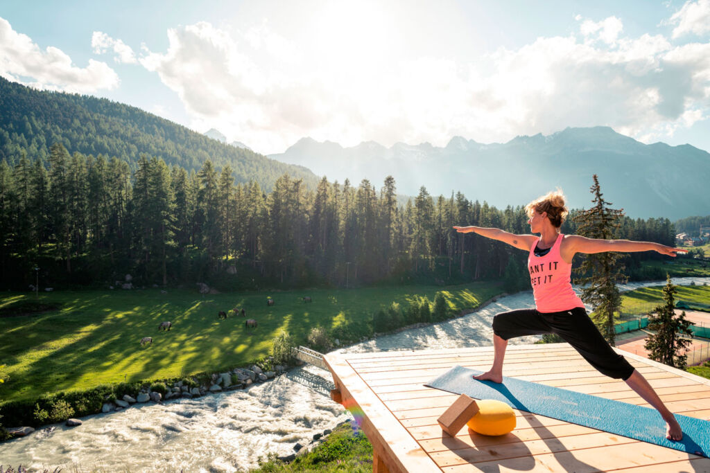 Outdoor yoga platforms at the Grand Hotel Kronenhof