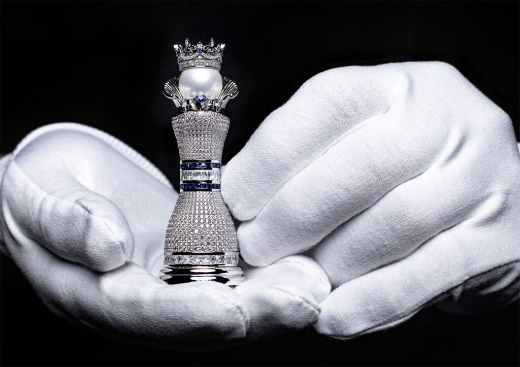 Pearl Royale gold and diamond chess piece