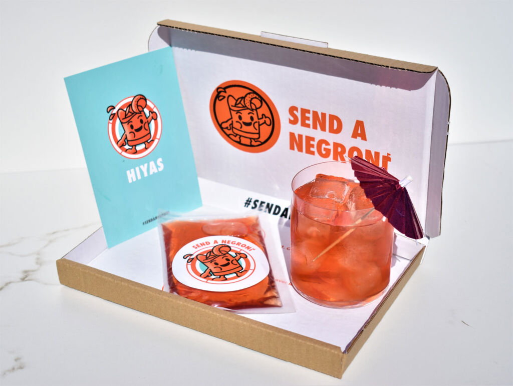 The Send a Negroni kit can be posted through a letterbox