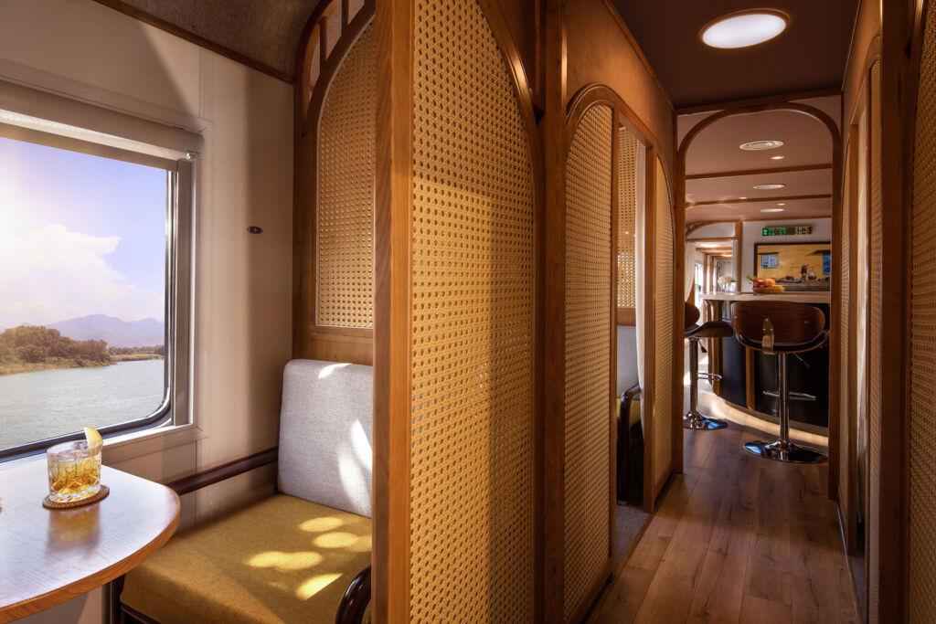 The bar area inside The Vietage train carriage