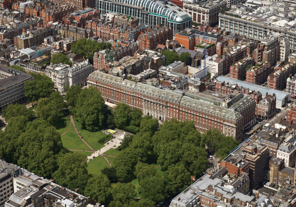Aerial photo of Grosvenor Square in Mayfair London