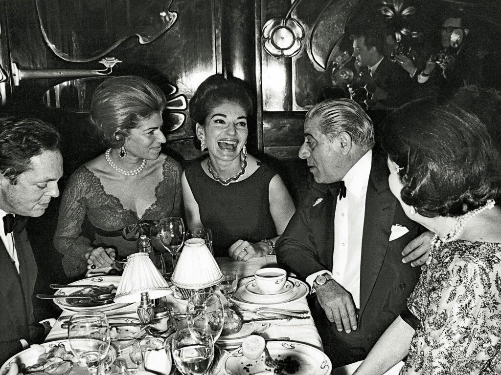 Aristotle Onassis dining with opera singer Maria Callas
