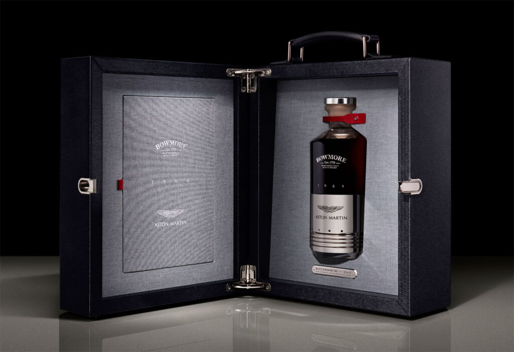 Black Bowmore DB5 whisky in open Presentation Case