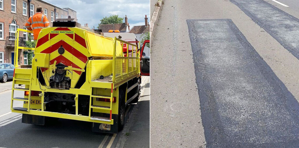 Elastomac being laid over potholes