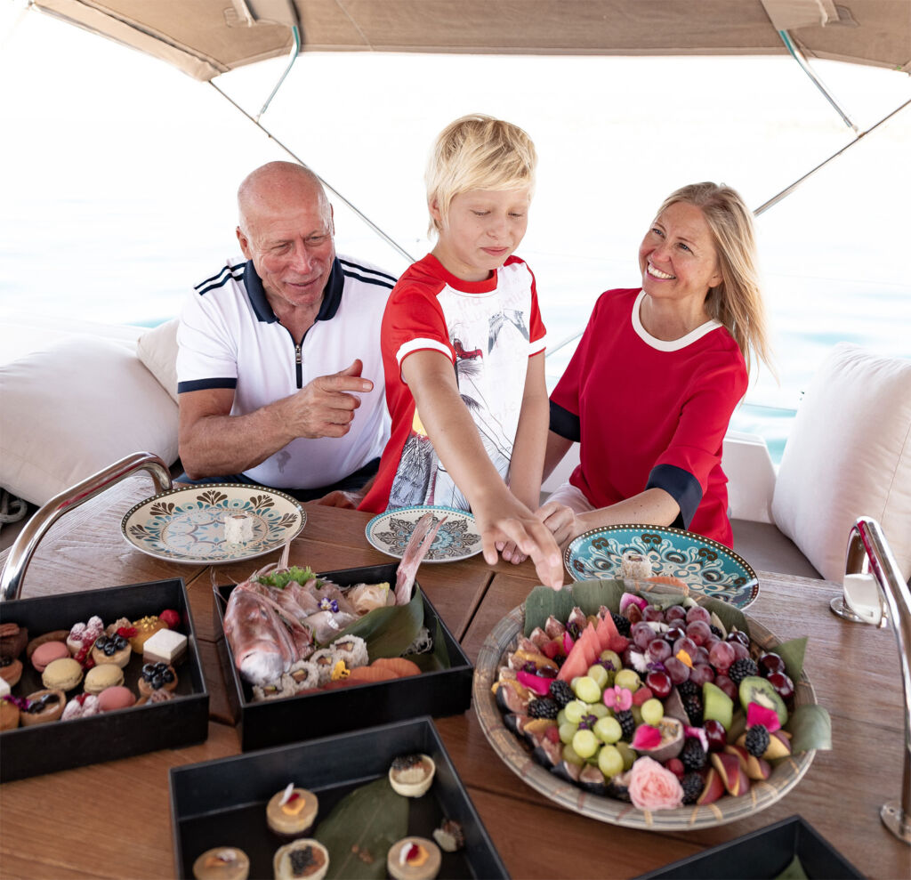 Freshly made food on the Puente Romano sailing yacht