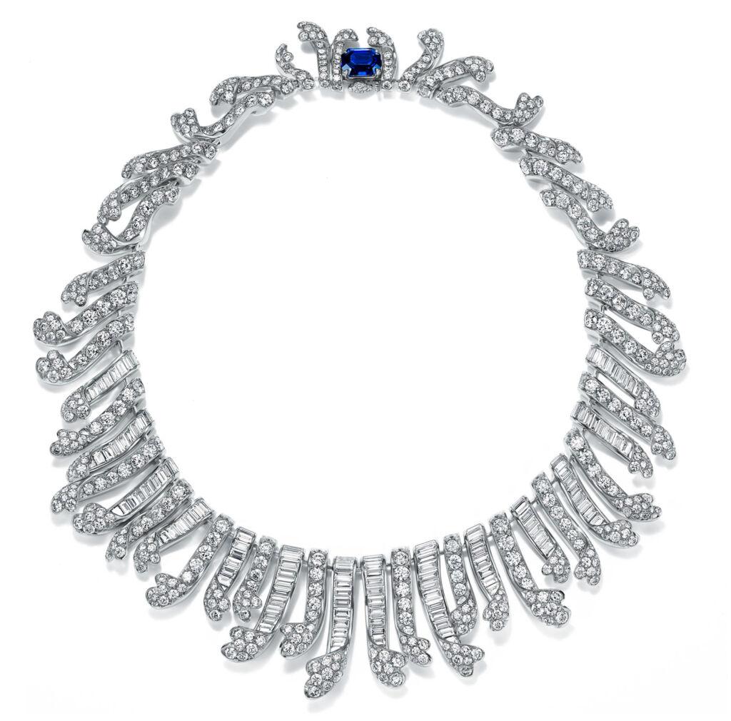 Jean Schlumberger Platinum Baguette Fringe Necklace