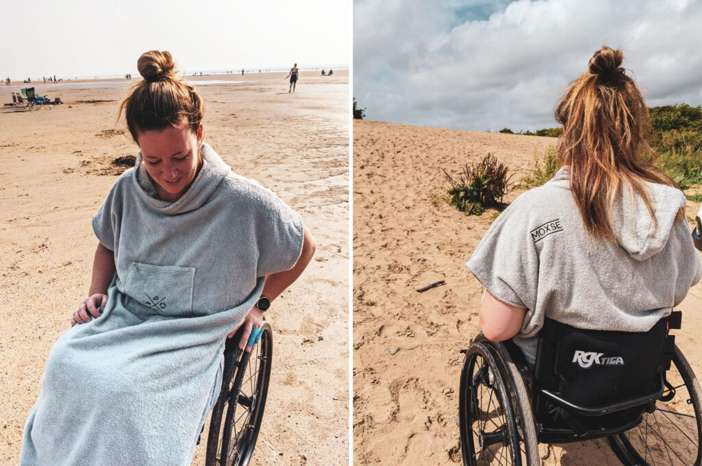 MOXSE WAVES towel is designed for wheelchair users